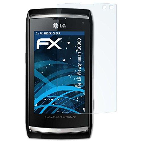 atFolix Schutzfolie kompatibel mit LG Viewty smart GC900 Panzerfolie, ultraklare und stoßdämpfende FX Folie (3X) Viewty Smart Screen