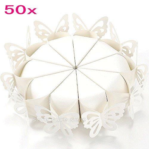 Jzk 50 farfalla bianco triangolo cone scatolina portaconfetti coni portariso scatola bomboniera segnaposto per matrimonio compleanno battesimo comunione nascita laurea natale