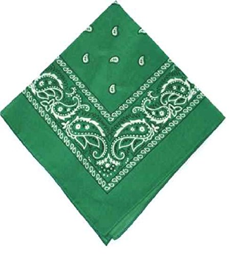 Kelly Green Dunklen Baumwollhalstuch Schal Black White Square Paisley (Paisley Schal Square)