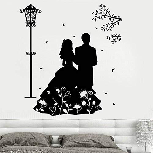 JXNY Vinyl Wandtattoo Paar Romantische Liebe Kleid Straßenlaterne Blume Wohnzimmer Kunst Dekoration wandaufkleber -