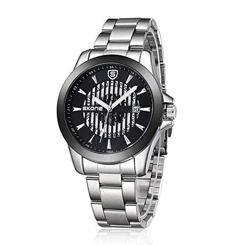 SKONE 2015New Design Herren Hohl automatische Mechanik Uhrwerk Stahl Band 504101, silber schwarz