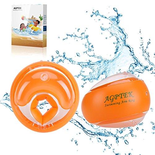 AGPTEK Kinder Schwimmflügel Schwimmscheiben, Sicherheits PVC Material und Mehrere Airbags, Armumfang 26 bis 29 cm, empfohlenes Gewicht 19-40 Kg, L, Orange