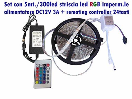 Set complet de bande 300LED 5050 RGB imp. les + Remoting contrôleur 24 touches + Alimentation dc12volt 5 ampères