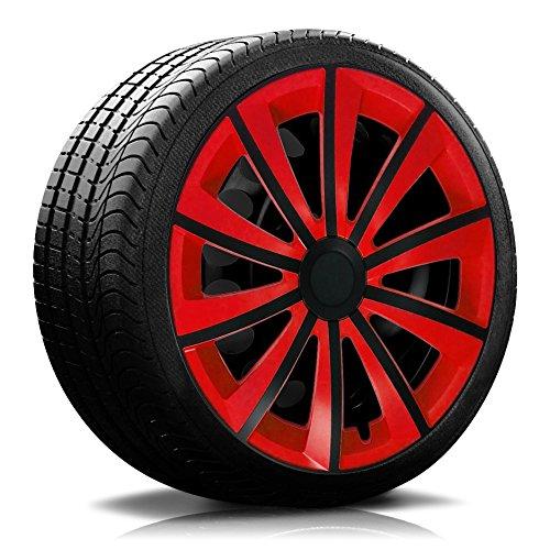 16 Zoll RKK11 Multi-Color Line Rot/Schwarz Radkappen/Radzierblenden 4 Stück - Schwarze Rote Und Felgen