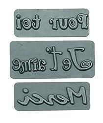 Glorex Reliefeinlage, Kunststoff, Pour TOI/Merci/Je t`aime, 3 Stück
