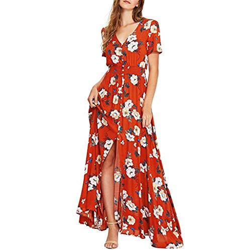 WUDUBE Robe de Plage à Fleurs d'été Femmes Robe Longue imprimée Boutonner Divisé Simple Chic Robe de soirée Fluide