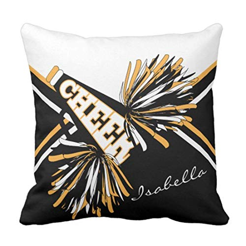 Hectwya Born Cheerleader in Black White Gold Cheer Decorative Kissenbezüge Home Decor Square 18 x 18 Inch 45cm -