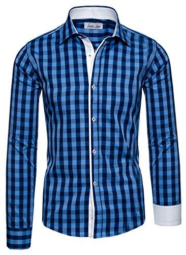 Lorenzo Loren -  Camicia Casual  - Con bottoni  - Uomo Blau