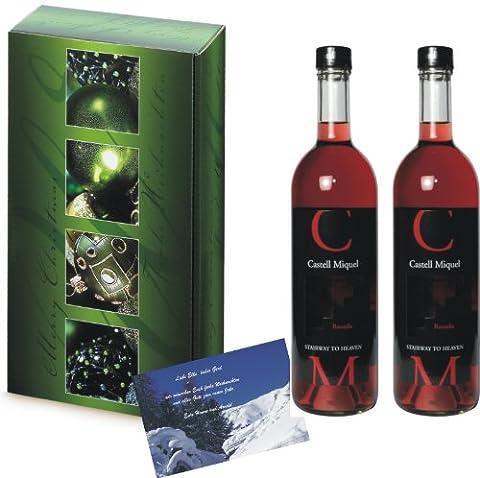Weihnachts Präsent Castell Miquel Rosado Rosé Wein In 2er Weichnachts Set Merry Christmas