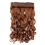 23' One Piece - Wavy/Curly - Light Auburn #30Y - Clip In Hair Piece Extension - 5 Clips 120g - High Quality Kanekalon Synthetic Fibre - Looks and Feels like Real Hair by Elegant Hair
