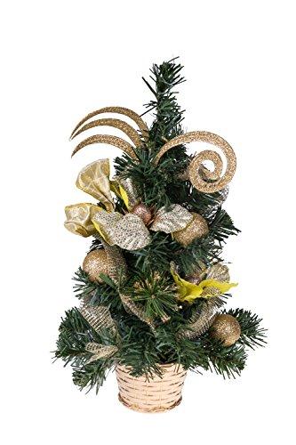 Clever creations albero di natale da tavolo con decori - iuta con decorazioni dorate infrangibili e stella - 41 cm