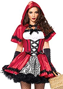 Leg Avenue- Caperucita roja Mujer, Color Rojo, Blanco, Large (EUR 42-44) (8523003096)