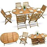 7-tlg Gartenmöbel Set Holzmöbel Gartenmöbel Essgarnitur Sitzgruppe Holz Akazie geölt - 6x Klappstuhl 1x Klapptisch