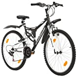 Probike EXTREME 26 Zoll Fahrrad Mountainbike Vollfederung Shimano 18 Gang Herren-Fahrrad, Damen-Fahrrad, Jungen-Fahrrad Mädchen-Fahrrad, geeignet ab 155 - 180 cm ((Scwarz mit Kotflügel))
