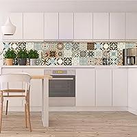 Ambiance-Live Adhesivo mural decorativo, diseño de azulejos hidráulicos,20x 20cm, 30piezas