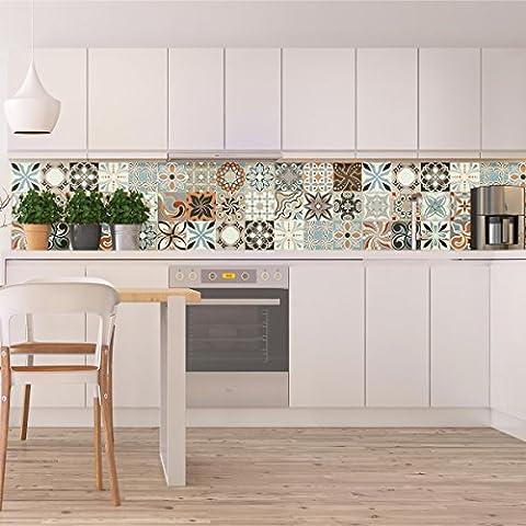 Carreaux de ciment adhésif mural - azulejos - 10 x10 cm - 30 pièces