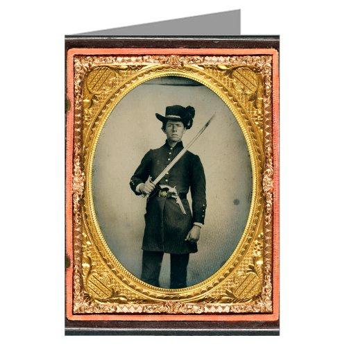 confederate-12-biglietti-vintage-young-soldato-in-uniforme-e-cappello-con-sciabola-hardee-holstered-