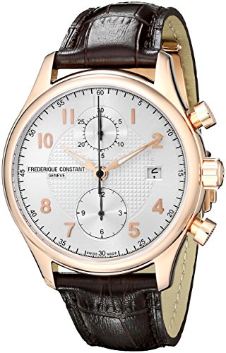 Frederique Constant Men's 42mm Brown Calfskin Band Steel Case Automatic Silver-Tone Dial Watch FC-393RM5B4