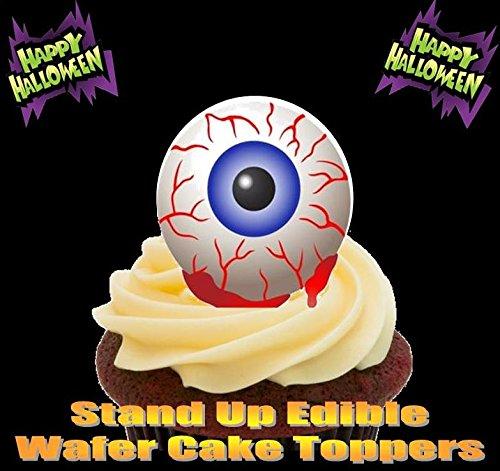 HALLOWEEN Blauer Augapfel 12 essbare Standup Kuchen-Deko, Kuchendekorationen, essbar, Premium, 2 x A5, für 12 Bilder