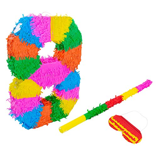 Fax Potato Nummer 8 Pinata Set mit Stick & Blindfold - 50 x 7,5 x 35 cm - Rainbow (Ideen Cinco Dekoration De Mayo,)