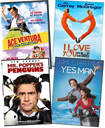 Jim Carrey Movies DVD 6-Film Collection - Ace Ventura: Pet Deteve Yctive/ Pet Detective JR/ When Nature Calls/ I Love You Phillip Morris/ Me, Myself & Irene/ Yes Man