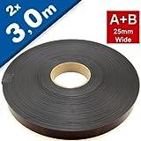 Magnetband Magnetstreifen selbstklebend mit Premium-Kleber - 1,5mm x 25,4mm jeweils 3m - Set aus TYP A und B