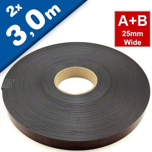 Magnetband Magnetstreifen selbstklebend mit Premium-Kleber - 1,5mm x 25,4mm jeweils 3m - Set aus TYP A und B -