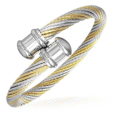 Stainless Steel Two-Tone Celtic Twisted Cable Wire Womens Cuff Bangle Bracelet