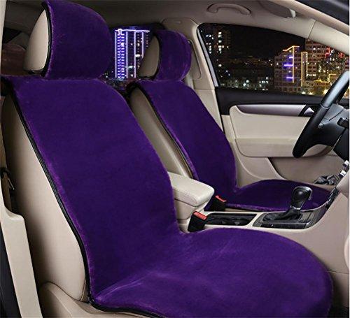 GAOFEI Schaffell Sitzbezüge Soft Plüsch Wolle Sitz Matte Anti-Rutsch-Abdeckung für die meisten Auto, LKW, SUV oder Van , purple