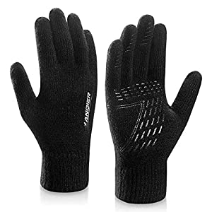 coskefy Winter Knit Gloves Touchscreen Gloves Wool Lined Texting Gloves Running Gloves