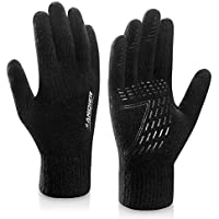coskefy Winter Knit Gloves Touchscreen Gloves Women Men Thermal Wool Lined Texting Gloves Running Gloves