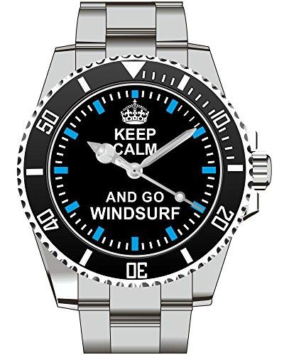 Keep calm and go Windsurf Surfen Segel Board Surf - Kiesenberg Uhr 2055