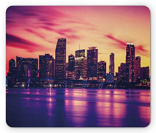 United States Mouse Pad, View of Miami at Sunset Building Urban Modern City Life Ocean Skyline Gaming Mousepad Office Mouse Mat Purple Pink Peach - Miami Peach