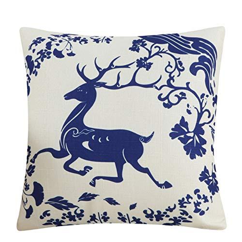 Baumwolle und Hanf Kissen mit Kern, Kissen, Auto Taille von Office Back 45 X 45Cm (Kissenbezug und Kissen Core) Blue Flower Love - Plum Deer (Gesunde Back-office-stuhl)