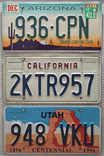 3er SET / LOT ## US Nummernschilder ARIZONA + UTAH + KALIFORNIEN Blechschilder USA # KFZ Schilder