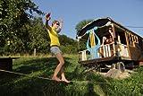 Gibbon Slacklines Classic Line mit Tree Pro, Gelb, 25 Meter (22,5m Band + 2,5m Ratchendband), Anfänger, Beginner und Einsteiger, inklusive Baumschutz, Ratschenschutz und Ratschenrücksicherung, 50 mm breit, perfekter Freizeitsport - 12