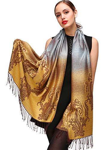 Shmily Girl Damen Schultertuch Stola - Eleganter Pashmina Schal mit floralem Muster in vielen Farben (One Size, Gelb-c096) Eleganter Schal