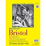 #5: Strathmore 300 Series Bristol 9''x12'' Extra White Vellum 270 GSM Paper, Short-Side Tape Bound Pad of 20 Sheets