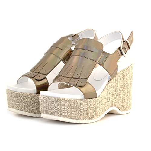 SANDALI DONNA JEANNOT ZEPPA IN VERNICE TAUPE GRIGIO E FRANGIA MADE IN ITALY 37