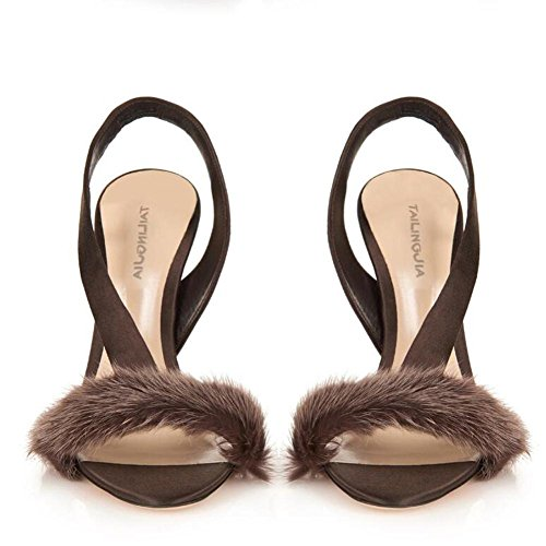 L@YC Frauen Bankett Super High-Heeled Tanz PlüSch Komfort Plattform GroßE GrößE Sandalen Brown