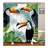 AnazoZ Duschvorhang Anti-Schimmel, Wasserdicht Vorhänge an Badewanne Antibakteriell, Bad Vorhang für Dusche 3D Tukane Vogel, 100% PEVA, inkl. 12 Duschvorhangringen 180 x 180 cm