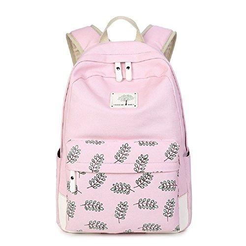 MAIBU Beiläufige Segeltuch -Schule-Rucksack-Laptop-Beutel-Schulter-Beutel-Rucksack-Reisen Daypack Blatt-pink