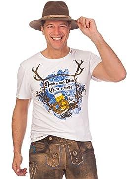 Trachten Herren Shirt - HOPFEN - weiß, Größe XXXL