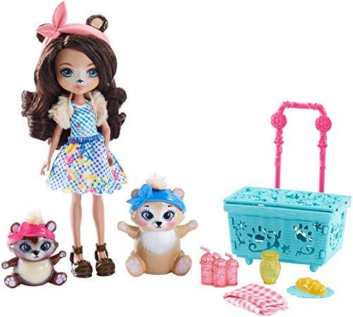Mattel Enchantimals Paws for a Picnic muñeca - muñecas (Multicolor, Femenino, Chica, 4 año(s), Oso, Bolso de muñecas, Mascota de muñeca)