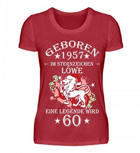 Shirtee Hochwertiges Damen Organic Shirt - Sternzeichen Löwe Wird 60 Dunkelrot