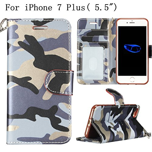 """iPhone 7Plus 5.5"""" Wallet Case,Heyqie(TM) Army Camouflage Premium Leather Folio Case Wallet and Kickstand Function Protective Shell Wallet Case Cover for Apple iPhone 7 plus/ iPhone 7s plus 5.5"""" -Green Blue"""