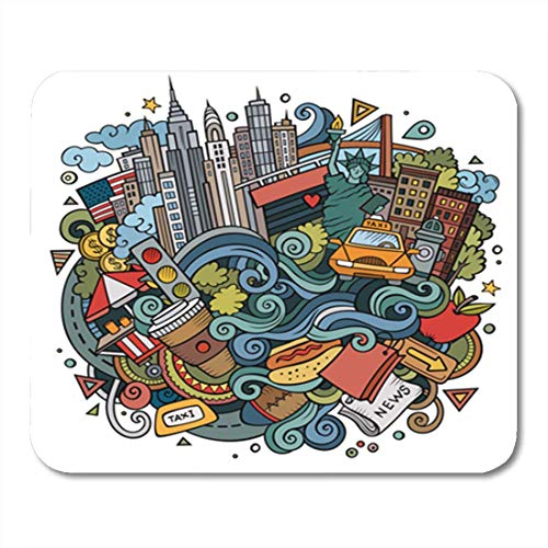 Gaming Mauspads, Gaming Mouse Pad Cartoon Cute Doodles Welcome to New York Colorful Detailed Lots 11.8