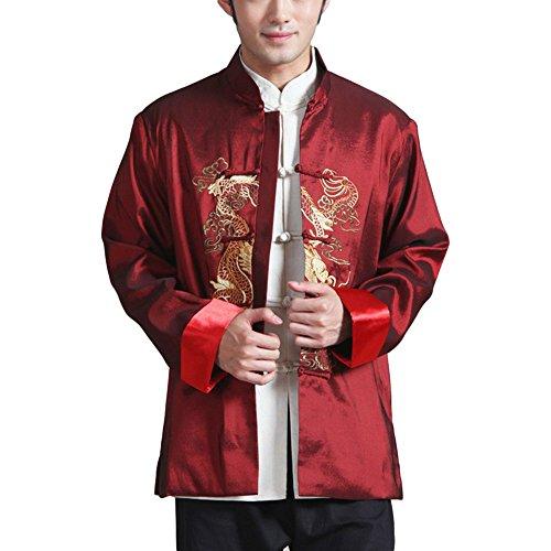 ZooBoo Chinesische Traditionelle Kleidung Jacke - China Tang Klassische Antike Kostüme Tangzhuang Kampfkunst Kung Fu Lange Ärmel Oberbekleidung Hemd Outfit Drachenmuster Totem Uniform - (S, ()