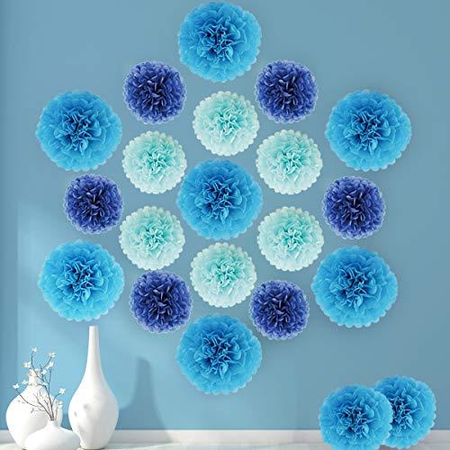 Deswell 21piezas Pompones de Papel de Seda Azul Cielo Azul Real 9 Pulgadas y 14 Pulgadas para la Fiesta de la Fiesta de Bienvenida al bebé Fiesta de cumpleaños del Banquete de Boda Decoraciones