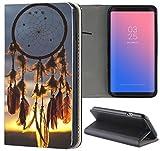 Samsung Galaxy S5 / S5 Neo Hülle Premium Smart Einseitig Flipcover Hülle Samsung S5 Neo Flip Case Handyhülle Samsung S5 Motiv (1098 Traumfänger Dreamcatcher Blau Schwarz Gelb)